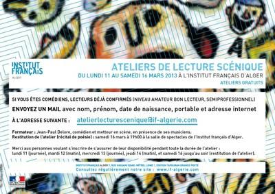 ATELIERS DE LECTURE SCÉNIQUE du 11 au 16 mars 2013