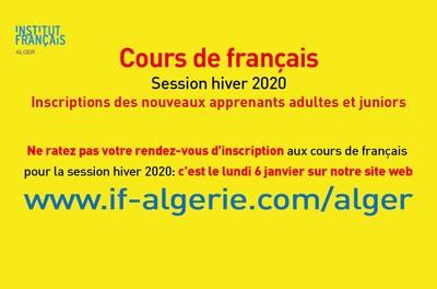 Cours de français - Session hiver 2020. Inscriptions des nouveaux apprenants adultes et juniors