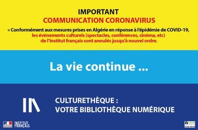 """IMPORTANT : COMMUNICATION CORONAVIRUS LA VIE CONTINUE - Culturethèque """"en ligne"""" ..."""