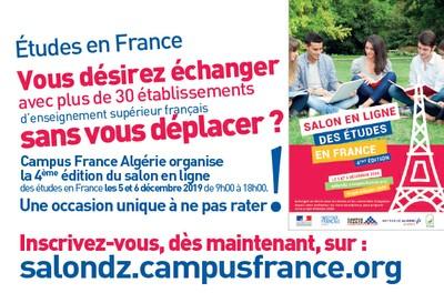 INSCRIVEZ- VOUS À LA 4ÈME ÉDITION DU SALON EN LIGNE DES ÉTUDES EN FRANCE !