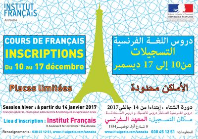 INSCRIPTIONS - COURS DE FRANÇAIS -