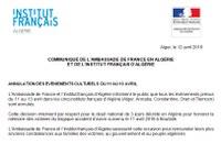 COMMUNIQUÉ : ANNULATION DES EVENEMENTS CULTURELS DU 11 AU 13 AVRIL