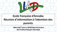 École française d'Annaba : réunion d'information à l'attention des parents