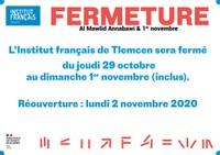 Fermeture de l'IF Tlemcen / Al mawlid Annabaoui & 1er novembre